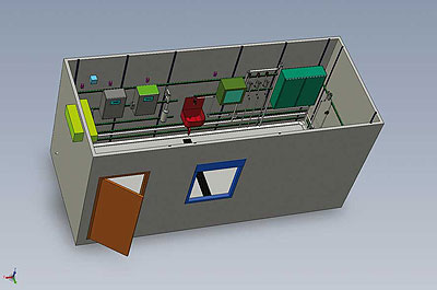 3-D construction view of an analysis container